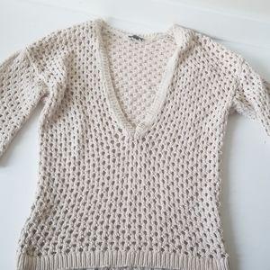 Ann taylor knit sweater cream 100% cotton